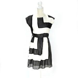CATHERINE MALANDRINO Silk Colorblock Dress